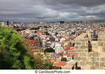 Panoramic downtown Lisbon (Portugal), as seen from Alfama,...