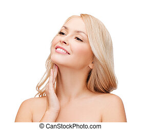 woman touching her neck - heath and beauty concept - face of...