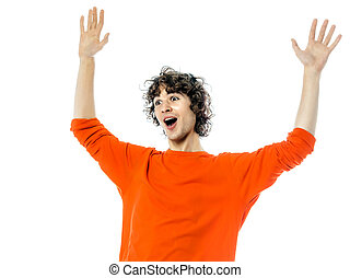 young man gesturing surprised happy joy portrait