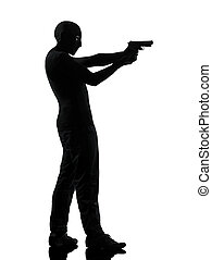 thief criminal terrorist aiming gun man silhouette - thief...