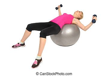 Dumbbell Chest Fly on Stability Fitness Ball Exercise, phase...