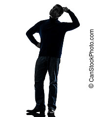 man doubtful thinking silhouette full length