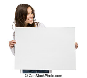Smiley girl holding copyspace - Half-length portrait of...