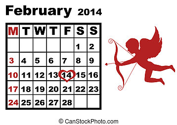 February Calendar 2014 - February calendar 2014 isolated on...