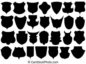 Set Of Different Shields - Set of different shields isolated...