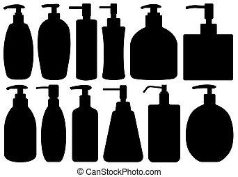 Set Of Different Liquid Soaps - Set of different liquid...