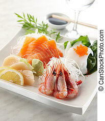 sashimi mix - delicious mixed sashimi with prawn and salmon