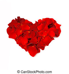 Rose petals heart - Romantic heart made of red rose petals