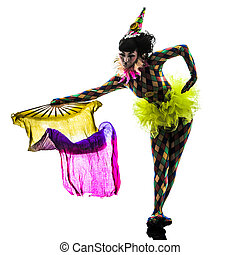 woman harlequin circus dancer performer silhouette - one...