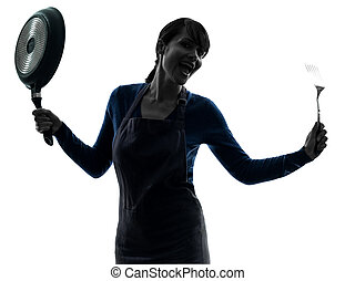 woman happy cooking holding frying pan silhouette - one...