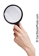 hand with magnifying glass for your designs