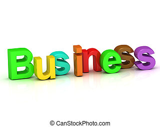 business 3d word colour bright letter on white background