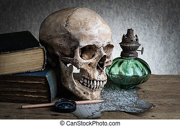 still life skull - Still life, human skull with compass on...
