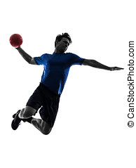 young man exercising handball player silhouette - one...