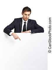Business man pointing hand gestures at copy space