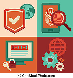 Vector internet security icons in flat style - Vector...
