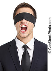 Blind-folded businessman screams - Portrait of blind-folded...