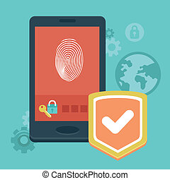 Vector mobile phone security - concept with icons in flat...
