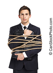 Businessman handing briefcase tied with the string -...