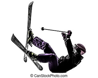 one woman skier skiing falling silhouette - one caucasian...