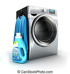 3d washing machine and detergent bottle, isolated white...