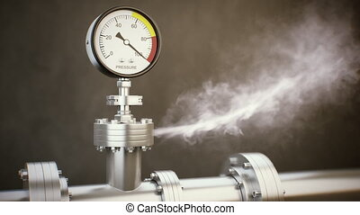 Pressure Gauge - Gas or steam leaking from an industrial...