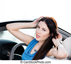 Close up view of woman in the car