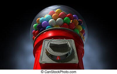 Gumball Dispensing Machine Dark - A regular red vintage...