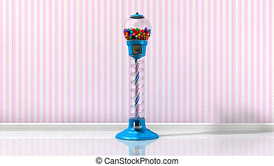 Gumball Machine In A Candy Store - A regular blue vintage...