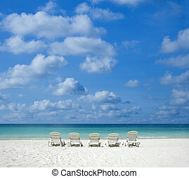 beach with chair. - Concept photo of beach with chair.