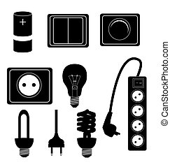 Electric accessories silhouette icons vector illustraton