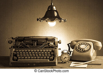 Still life retro office - Still life with retro typewriter,...