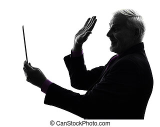 senior business man holding digital tablet saluting silhouette