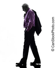 senior business man walking sadness silhouette - One...