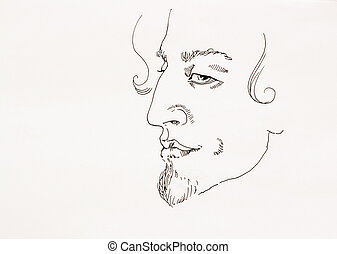 Man ironic portrait simple outline ink sketch on paper