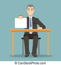 flat design style businessman sitting at table with the form...
