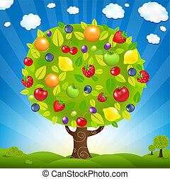 Fruit Tree With Landscape, With Gradient Mesh, Vector...