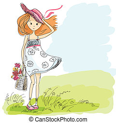 girl in a hat with handbag and flowers on a windy day