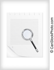 Magnifying glass with sheet of paper