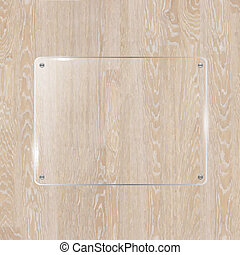 Wooden Board With Glass Banner, Vector Illustration