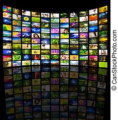 grande, panel, televisión