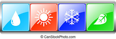 drop, sun, snowflake, leaf on metal backdrop - button set...
