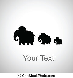 three elephants silhouette on a white background