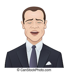 Businessman in a Suit and Tie on White Background - Laughing...