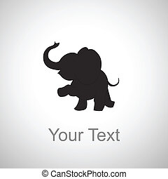 baby elephant silhouette on a white background