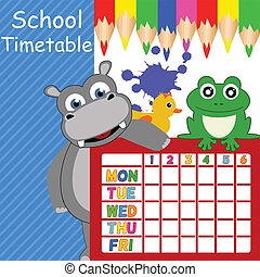 School timetable with funny animals, vector illustration