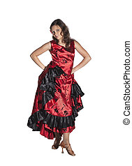 Young woman dancing flamenco