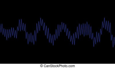 Coming alive blue line wave on a black background