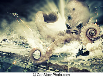 War with a large sea monster - octopus alien - War with a...