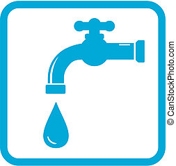 icon with tap water symbol - blue icon with tap and drop...